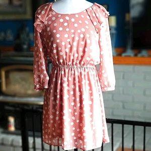 Forever21 Polka Dot Dress Ruffled Boho Mesh sz M